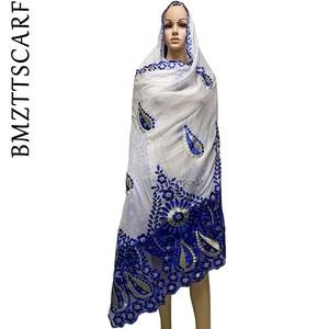 Image 2 - High Quality African Women Scarfs embroidery muslim women big cotton scarf for shawls BM947