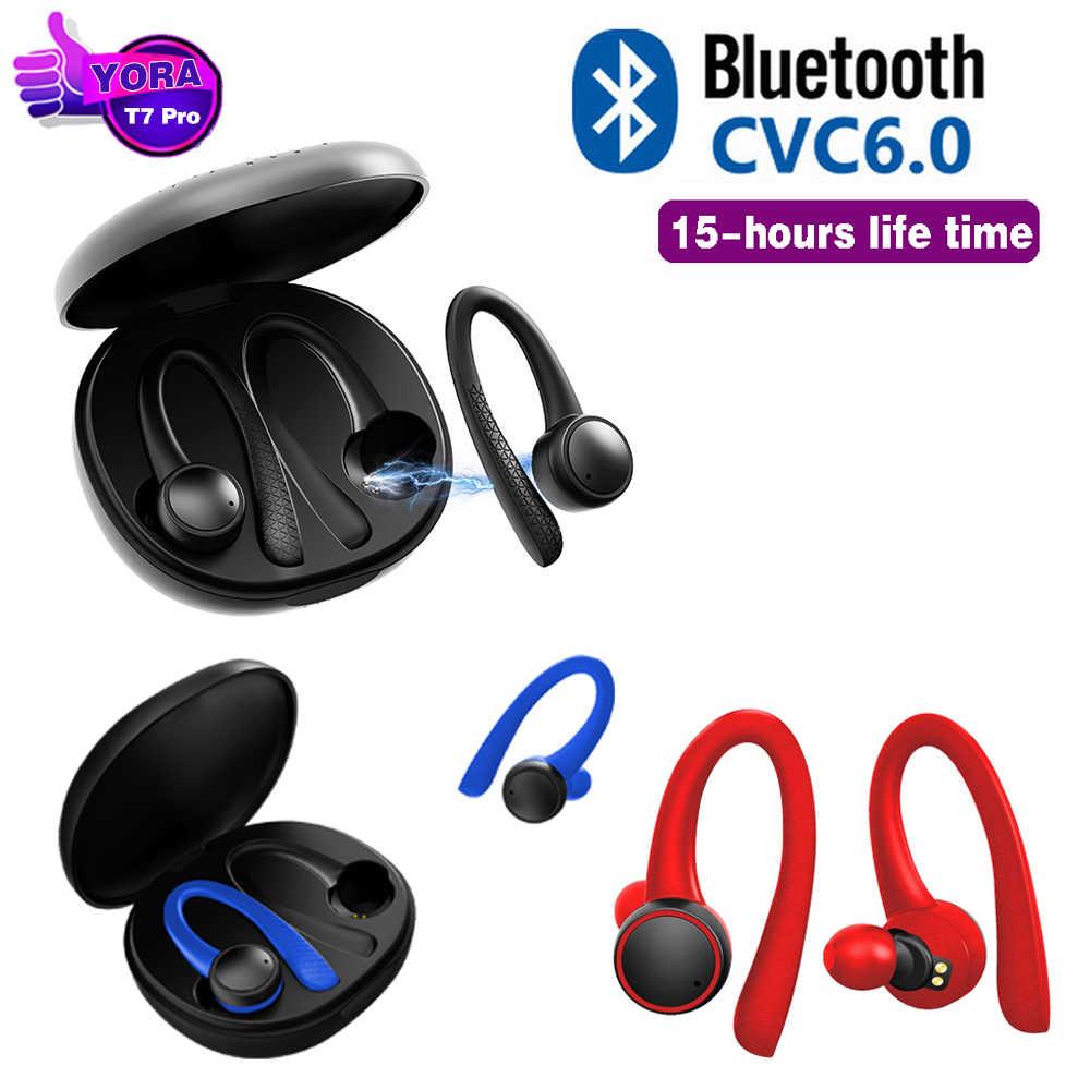 Tws 5.0 fone de ouvido bluetooth sem fio t7 pro alta fidelidade estéreo sem fio fones esportes preto tecnologia fone com caixa carregamento