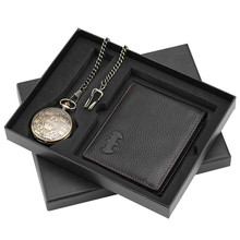 Vintage High Grade Batman Theme Quartz Pocket Watch Wallet Box Set Retro Pendant Clock Wallet