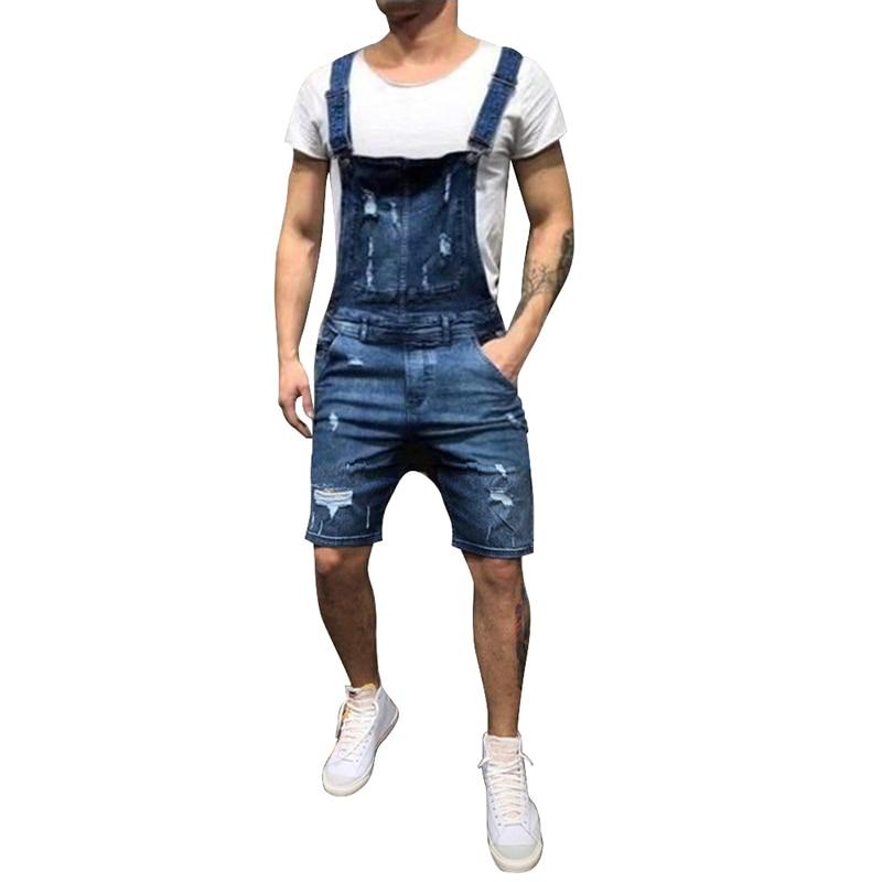 MoneRffi 2019 New Fashion Men's Ripped Jeans Jumpsuits Shorts Summer  Street Distressed Denim Bib Overalls Man Suspender Pants