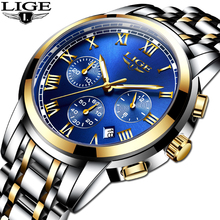 купить Reloj Hombre LIGE Fashion Business Watch Men Waterproof Stainless Steel Luxury  Quartz Watches Military Date Sport Chronograph по цене 1106.58 рублей