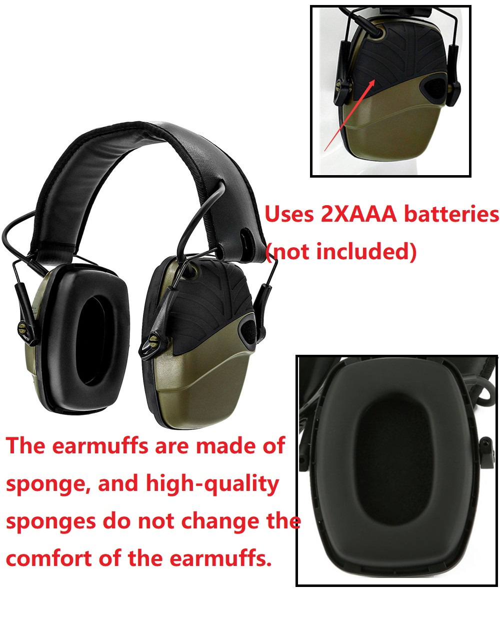 Hot DealsShooting Earmuffs Headphones Sponge Sound-Amplification Hearing-Protection Tactical Electronic