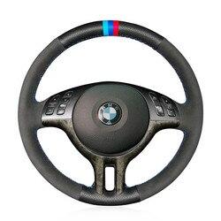 Volante de cuero perforado lateral, cubierta de costura m-color, bricolaje, para BMW E39, E46, 2006-2012/X5, E53, 2003-2012
