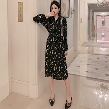 Autumn Chiffon Women Dress Elegant Ladies Vintage Long Dress Boho Flor