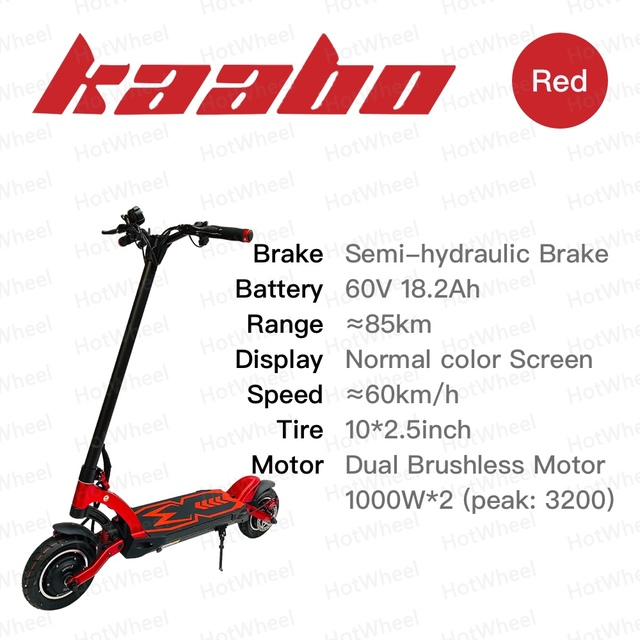 Kaabo mantis electric scooter 10inch 2000w dual motor 60v 18.2ah blue red black silver skateboard two wheel kick scooter