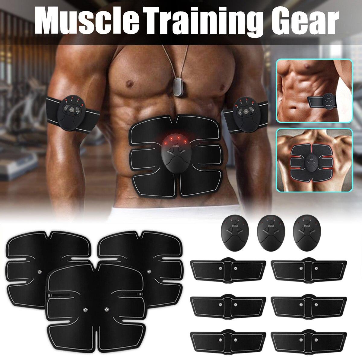 12PCS Set Abs Abdominal Músculo Estimulador Elétrico Massageador Exercitador Formação Toning Belt Cintura Corpo Braço Perna Instrutor de Fitness
