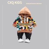 Korean style Full Printed Children English 2 Pieces Baby Hoodie Short Zipper Kids Childrenswear Hooded Set