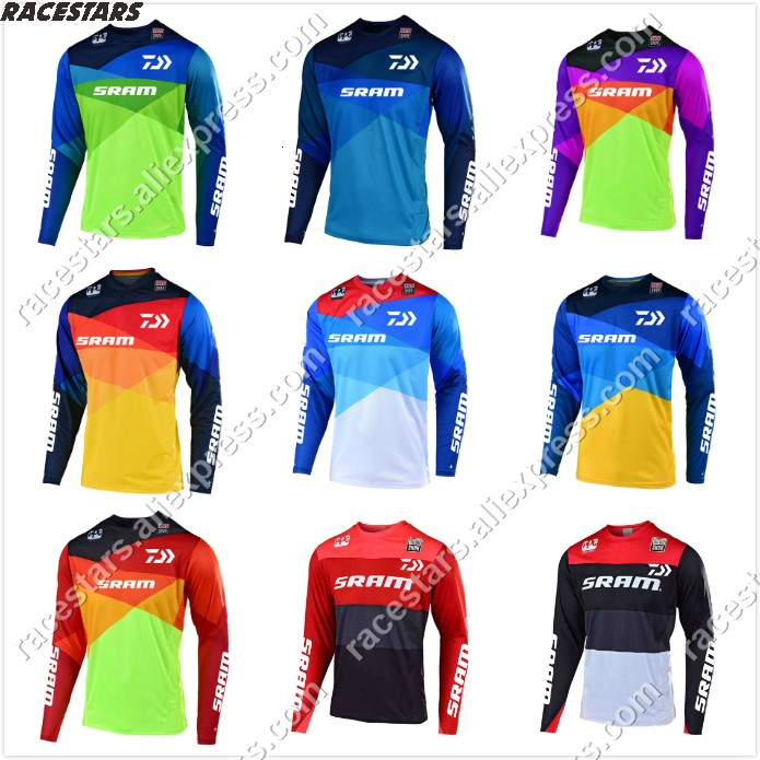 Motorcycle Jersey Maillot Ciclismo Racing Air MTB DH MX Bicycle Cycling Bike downhill fit SRAM Jersey quick dry ice cold feel