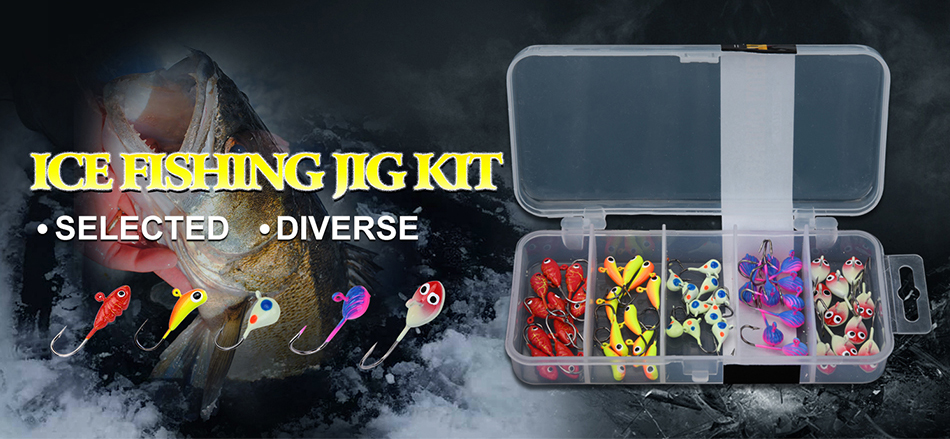 50pcs Winter Ice Fishing Lures 1.1g-2.2g Lead Jig Head Hook Bass Pike Crappie