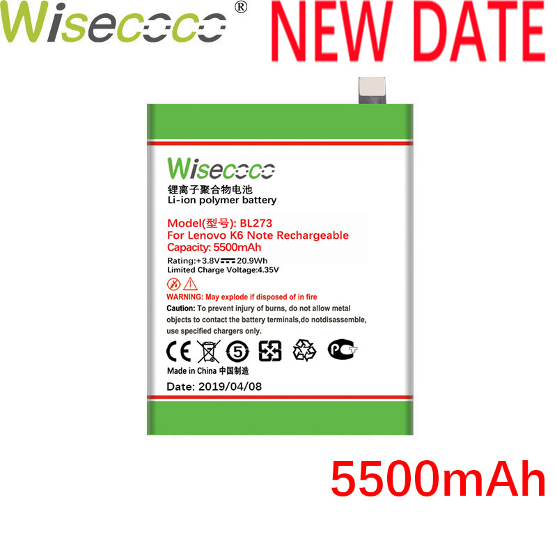 Wisecoco BL273 5500mAh 3.8V Built-in <font><b>Battery</b></font> For <font><b>Lenovo</b></font> <font><b>K6</b></font> <font><b>Note</b></font> Phone <font><b>Battery</b></font> Replacement + Tracking Number image