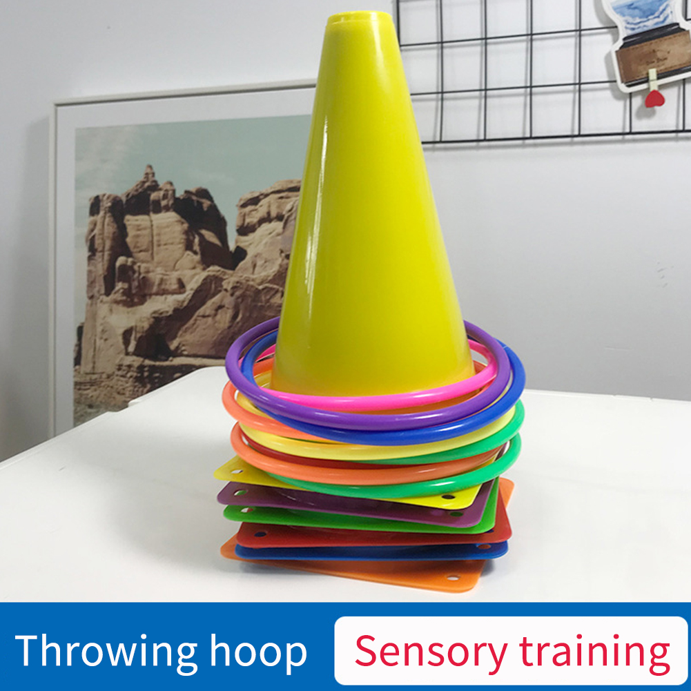 Parent Child Sensory Training Hoop Outdoor Playing Game Eye Hand Coordination Agility Practice Throwing Buckets Toss Ring Set