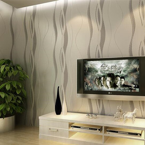 Image 3 - 3D שאינו ארוג פס עקום טפט רול בית תפאורה סלון חדר שינה קיר כיסויי כסף פרחוני יוקרה קיר נייר