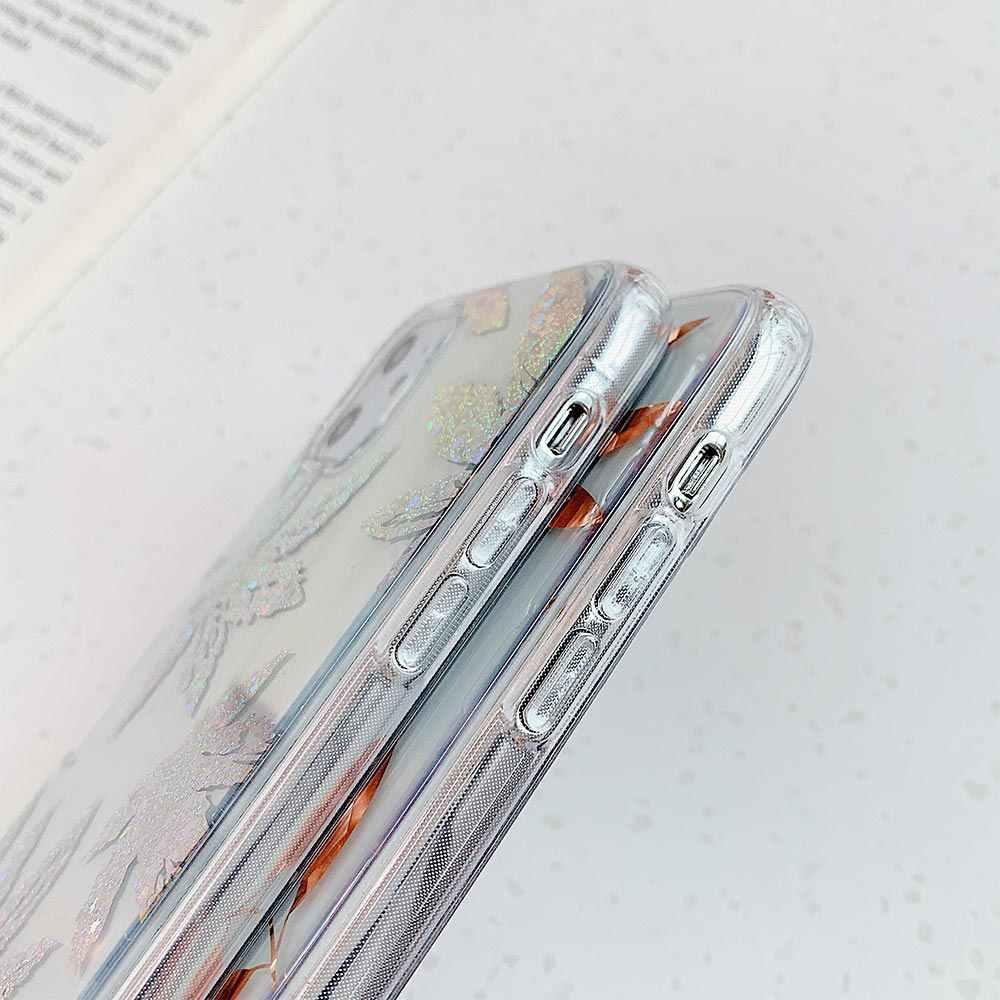 3D Lembut TPU Case Akrilik untuk Huawei P20 Lite P30 Lite Emas Daun Pohon untuk Huawei P20 Pro P30 pro Mate 20 Pro Nova 3 4 5 3i