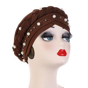 Image 5 - Nieuwe Vrouwen Elastische Tulband Hoeden Moslim Kralen Kanker Chemo Cap Head Wrap Cover Sjaal Stretch Beanie Bonnet Indische Chemo Haar verlies