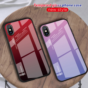 Image 1 - Gradient Tempered Glass Case For iPhone XR 7 8 6 6s Plus on the For iPhone X XS XS Max Phone Cases Cover Protective Fundas