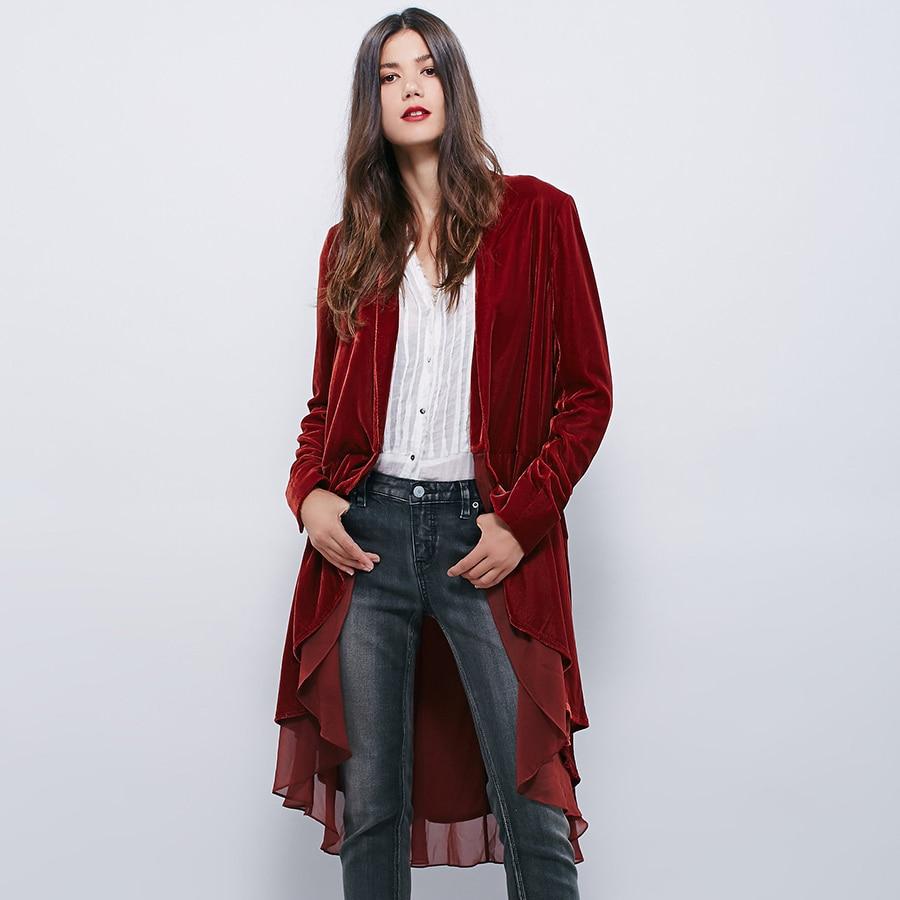 Autumn Velvet Windbreaker Irregular Gauze Stitching Jacket Trench Coats Long Ruffles Coat Long Sleeve Cardigan Pleated Tops