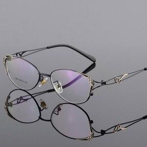 Image 3 - HOTOCHKI Alloy Elegant Women Glasses Frame Female Vintage Optical Glasses Plain Eye Box Eyeglasses Frames Myopia Eyewear