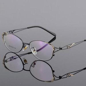 Image 3 - HOTOCHKI Legering Elegante Vrouwen Glazen Frame Vrouwelijke Vintage Optische Glazen Vlakte Oog Doos Brillen Frames Bijziendheid Eyewear
