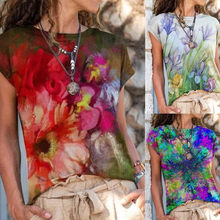 Summer Round Neck Printed Short Sleeve Top Fashion Plus Size Clothing New Women's Loose Casual T Shirt