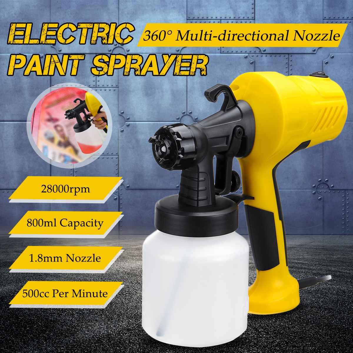 Doersupp 28000r/min Electric Spray Gun' Paint Sprayer Handheld Flow Control Airless Painting Three Spray Patterns Adjustable