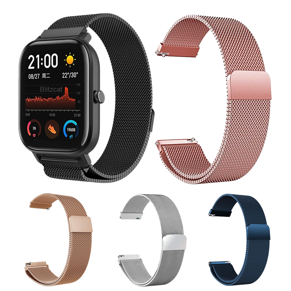 20MM Metal Wirst Strap For Xiaomi Huami Amazfit GTS Smart Watch Band Stainless Steel Replacement Strap For Amazfit Bip Youth