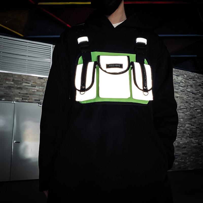 Streetwear Men Chest Rig Bags Tactical Functional Reflective Chest Bag Unisex Trend Vest Hip Hip Waist Bag Chest Pack Kanye West