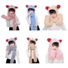 Kids Winter Warm 3 In 1 Faux Fleece Hooded Scarf Hat Gloves Set Cute Strawberry Ears Thermal Earflap Cap Neck Warmer
