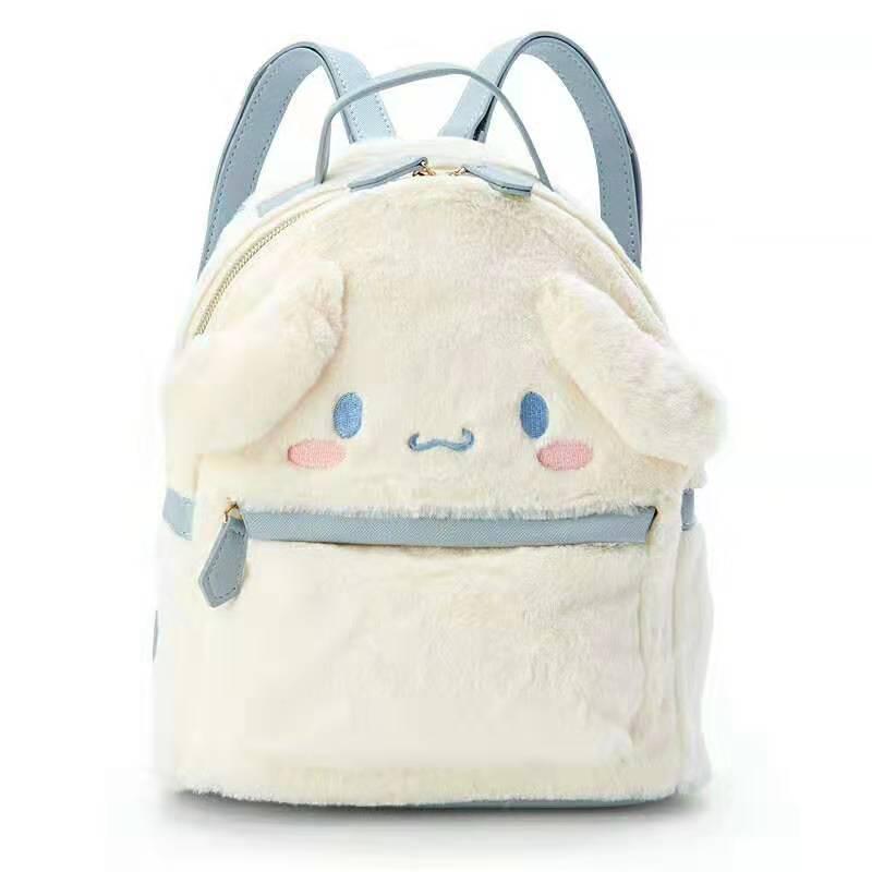 Image 4 - Cinnamoroll My Melody Small Plush Backpack Cute Cartoon Ears Pink  Leather Back Pack Mini Backpack for Teenage Girls KnapsackBackpacks