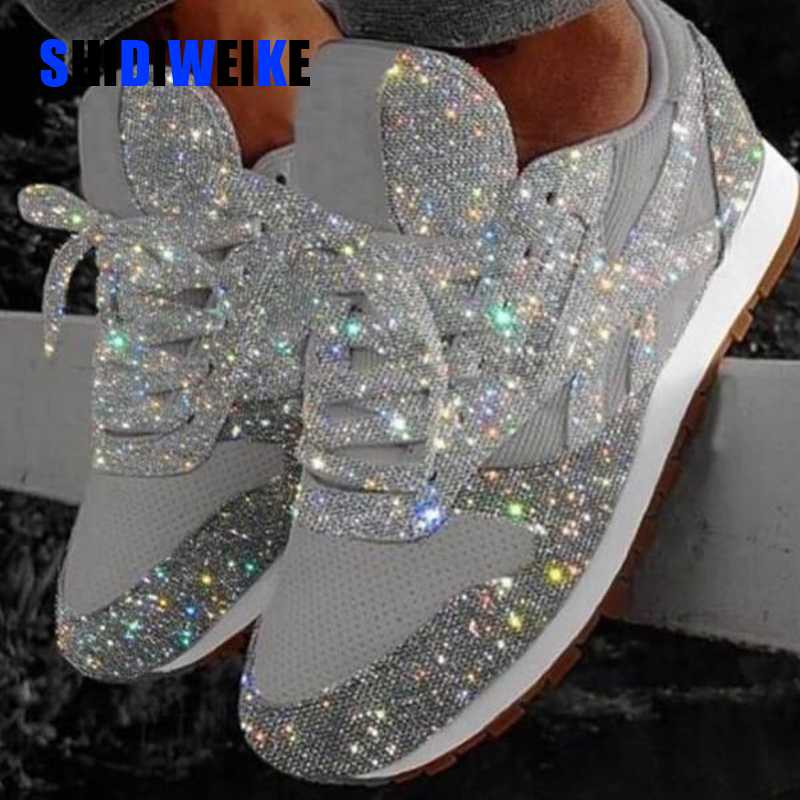 2019 Autumn Women Flat Bling Sneakers Casual Vulcanized Shoes Female Mesh Lace Up Ladies Platform Comfort Plus Size Sneakers