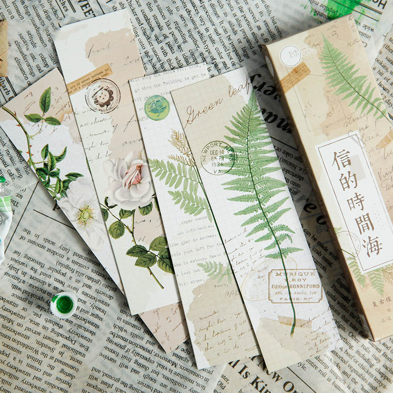 30Pcs/Box Cute Flower Girl Bookmarks Kawaii Plant Bookmarks Novelty Paper Book Marks For Kids School Office Supplies Stationery