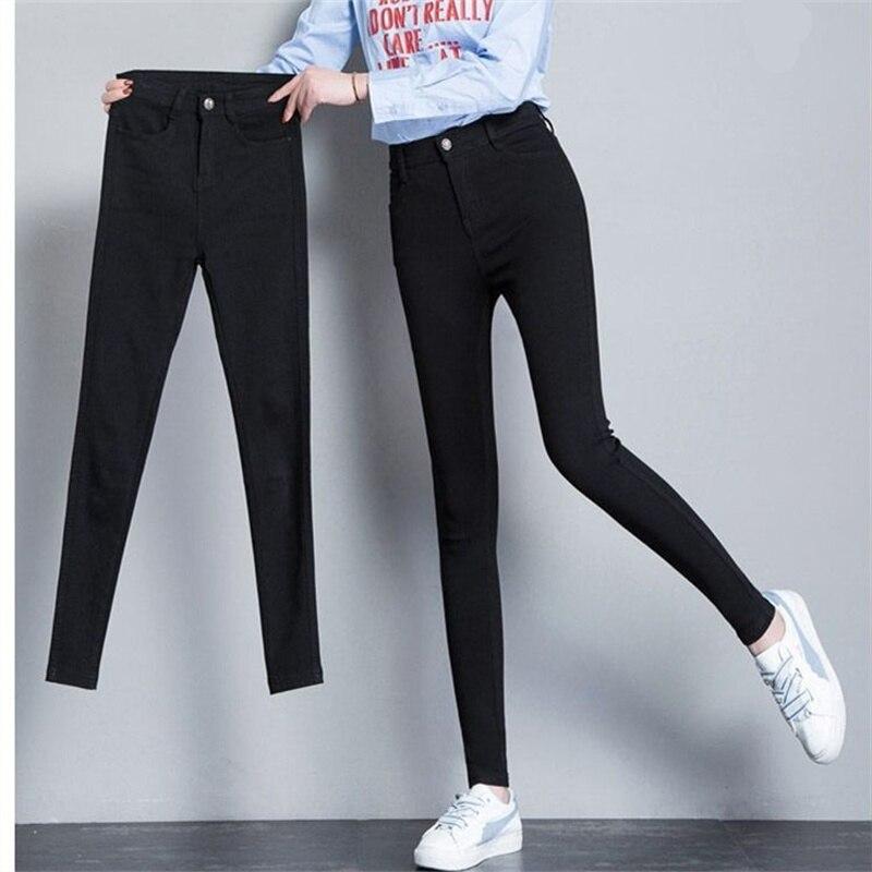 2019 Women Jeans Plus Size High Stretch Button Black Skinny Jeans For Women Denim Trousers Warm Pants