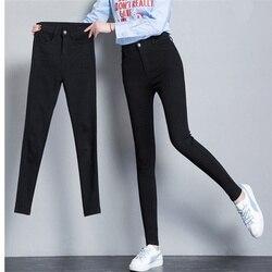 2019 calças de brim femininas plus size alta estiramento botão preto calças de brim magros para mulheres calças de brim calças quentes