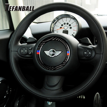 Car Interior Auto Steering Wheel Center Carbon Fiber Sticker Decoration Cover Ring For Mini Cooper R55 R56 R60 R61Car Styling цены