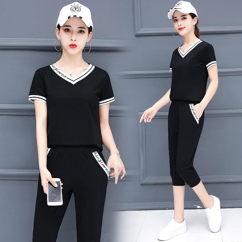 Sports Set Summer Wear For Women 2019 New Style Fashion Korean-style WOMEN'S Wear Fashion Short Sleeve Capri Pants Summer Casual