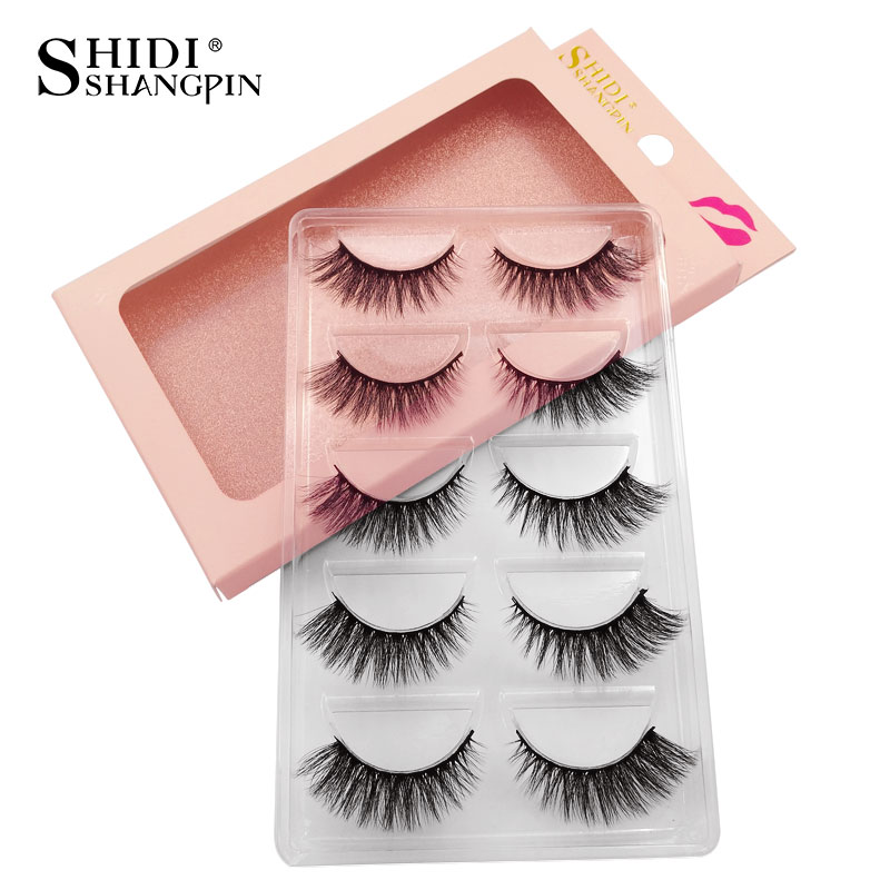 SHIDISHANGPIN Makeup False Eylashes Extension 1 Box 3d Mink Fake Lashes 5 Pairs Lashes Mink Eyelashes Natrual Make Up Maquiagem