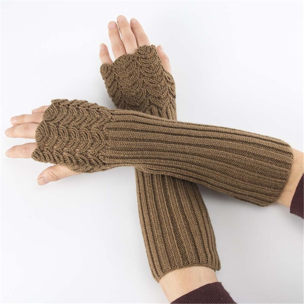 Unisex Casual Fashion Semi-Long Gloves Knitted Fingerless Winter Gloves Soft Mitten Female Warm Gloves Without Fingers