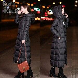 Image 3 - 黒の冬のジャケット女性ロング厚く暖かいパーカーコートの女性のファッションスリムパーカー綿パッド入り ZO854