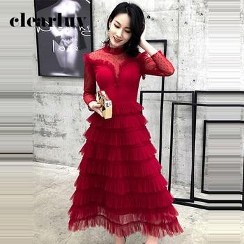 High Collar Long Sleeve Elegant Prom Dress DR353 Burgundy Tiered Banquet Gowns For Women A-Line Tea-Length Vestido De Fiesta