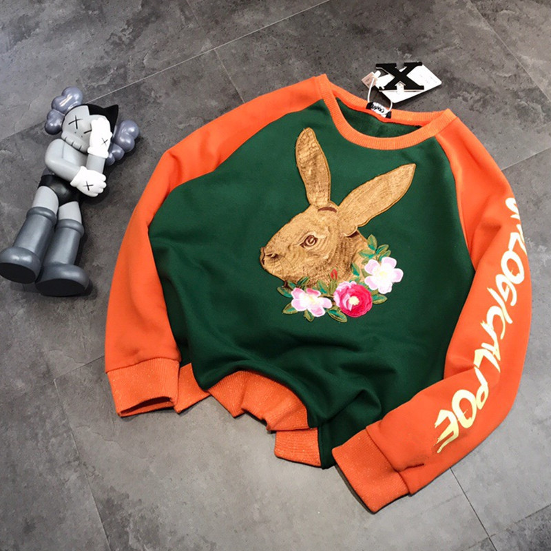 Women Embroidered Three-dimensional Embroidered Rabbit Flower Letter Color Raglan Loose And Plush Round Neck Sweatshirt Pullover