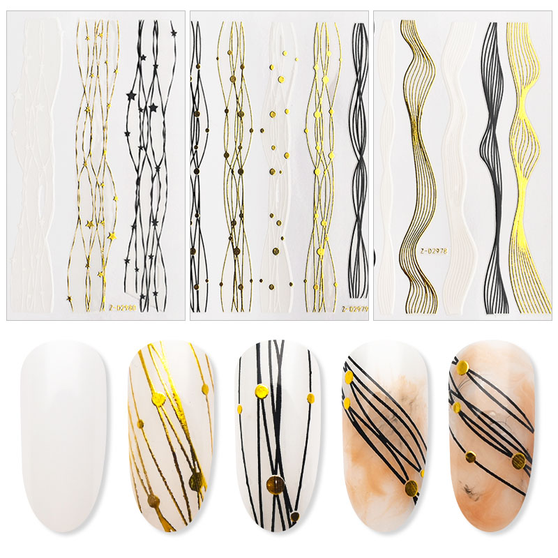 Gold+Black+White Sliders 3D Nail Stickers Straight Curved Liners Stripe Tape Wraps Geometric Nail Art Decorations ZJT4057