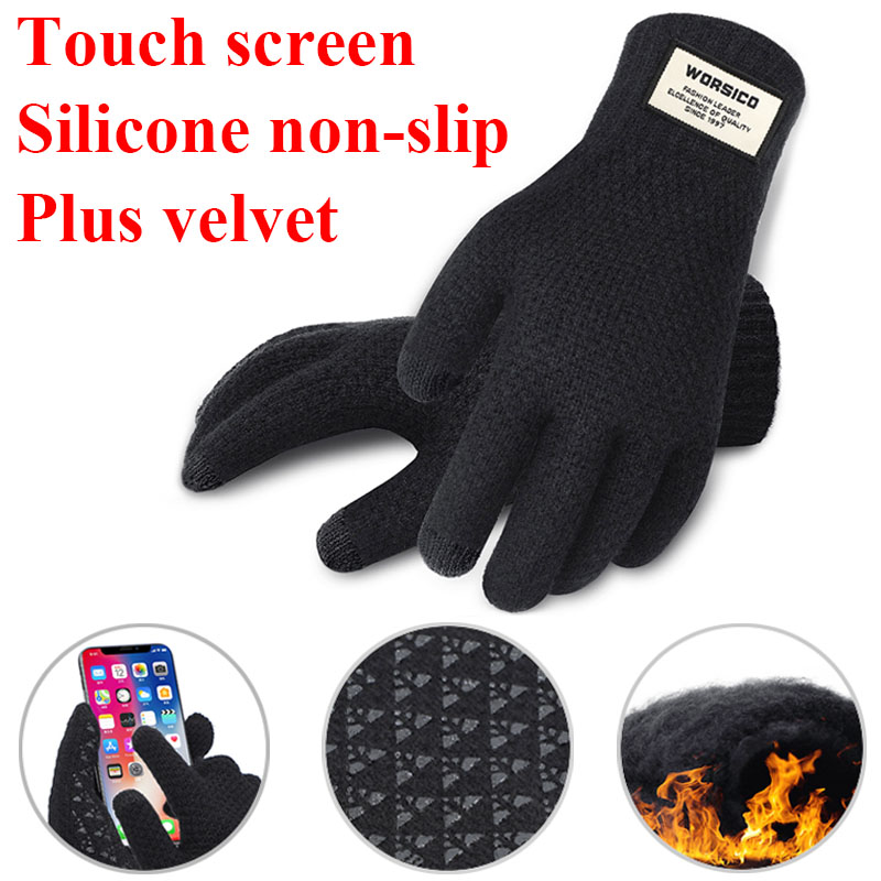 Fashion Winter Gloves Women Men Knitted Gloves Touch Screen Black Gloves Men Mittens Warm Thermal Anti-Slip Glove