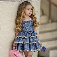 Ins Explosion/Детские платья в европейском и американском стиле для девочек, с кружевным ремешком, без рукавов, в клетку, пушистый торт