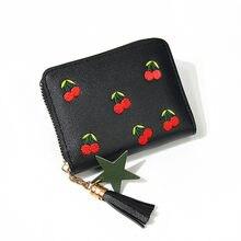 Moda feminina carteira pequena curto carteiras borla couro do plutônio cereja bordada meninas moeda bolsa titular do cartão senhora mini dinheiro saco