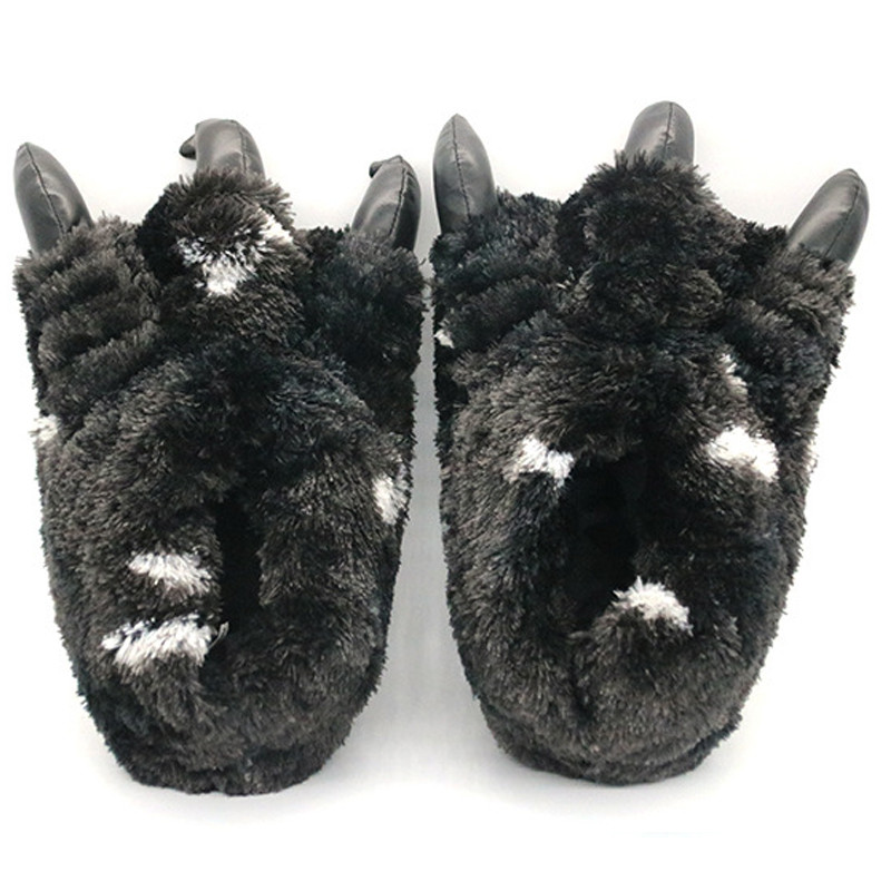 New Men's Winter Plush Paw Shoes Indoor Warm Paw Cotton Slippers Men's Fur Slides Casual Animal Home Shoes Male Fur Flip Flops