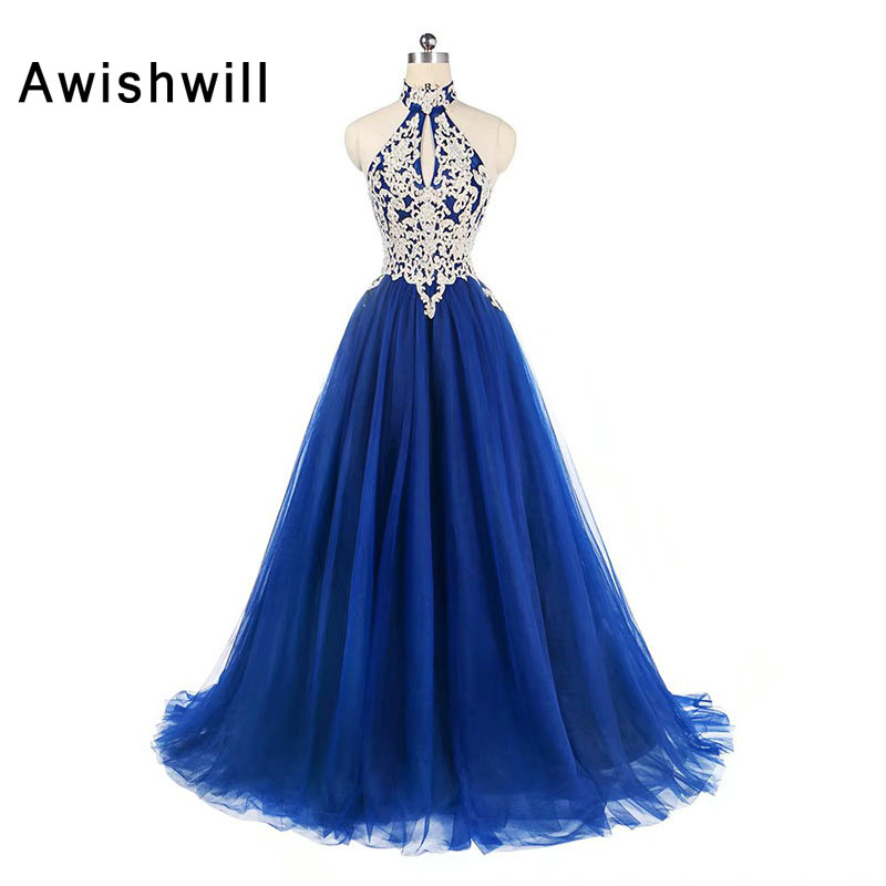 Fashion Royal Blue African   Prom     Dress   Halter Lace Appliques Tulle Open Back Formal Evening   Dress   Slim Fit Special Occasion   Dress
