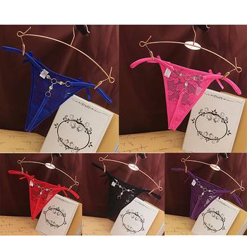 Damskie koronkowe stringi stringi majtki Sexy przezroczyste T-z tyłu bielizna koronki kwiaty niskiej talii majtki moda kalesony tanie i dobre opinie PCWFKEF POLIESTER CN (pochodzenie) Briefs Lace Patchwork Z obniżoną talią