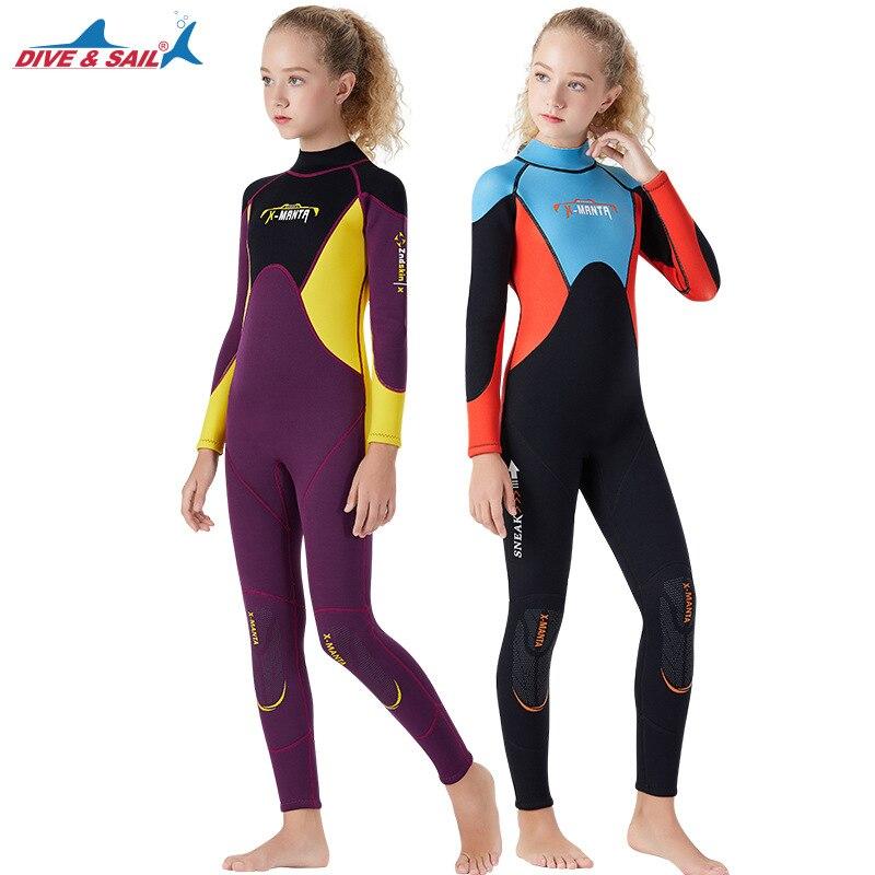 Une pièce 2.5MM néoprène combinaison jeunes maillots de bain enfants siamois chaud combinaison de plongée enfants surf se faufiler hiver combinaison de natation