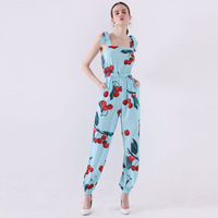 2019 summer new arrival jumpsuits sleeveless chiffon rompers fruit cherry print cute playsuits blue