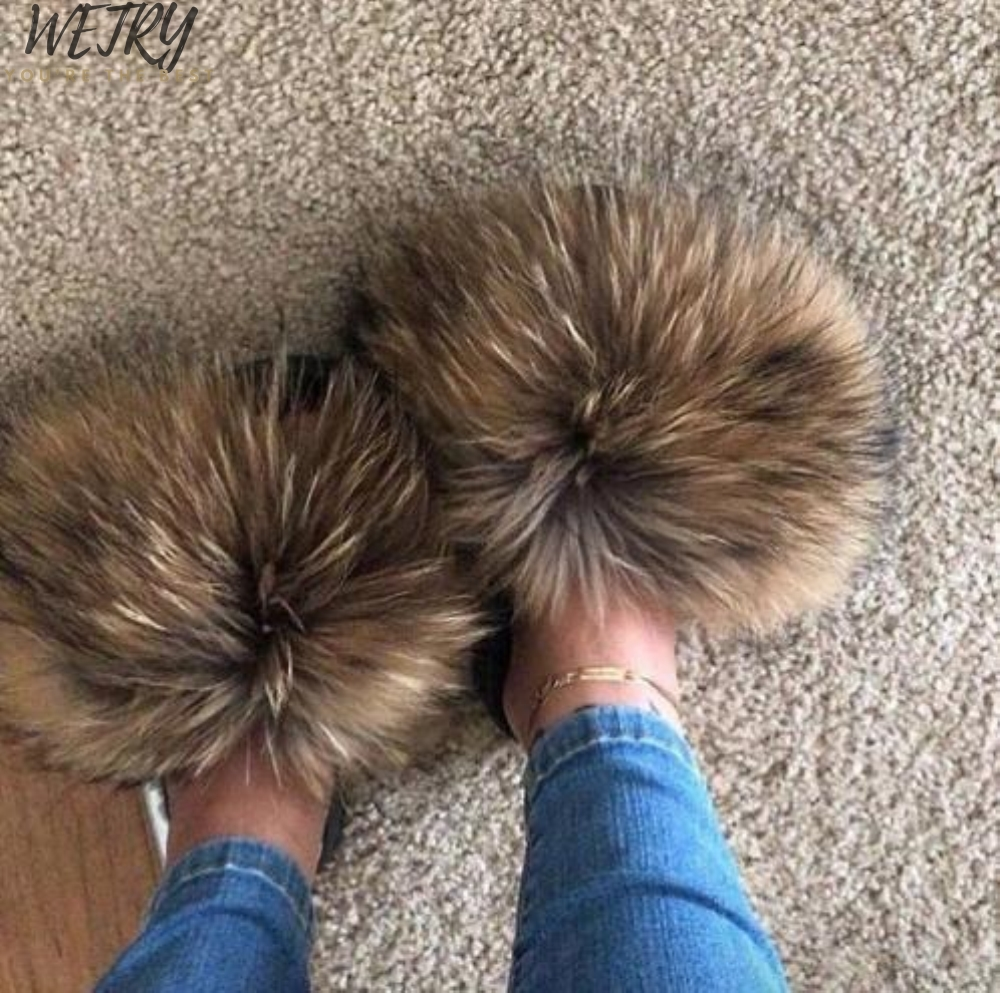 2020 Women's  Mixcolor Fur Slippers Real Fox Fur Woman Slides Home Furry Flat Sandals Female Cute Fluffy House Shoes Flip Flops