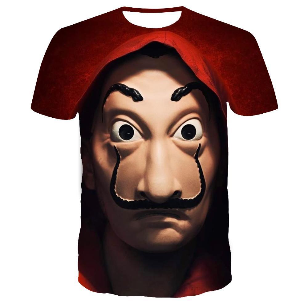 Film argent casse La maison du papier La Casa De Papel t-shirt hommes drôle Berlin 3D impression t-shirt hommes vêtements été hauts t-shirt